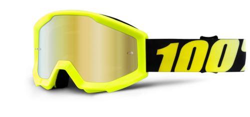 100% brýle dětské motokrosové Strata Neon Yellow -  zlatá zrcadlová skla