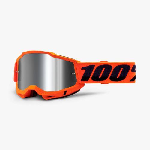 100% brýle motokrosové ACCURI 2 Goggle Orange - Mirror Silver Lens