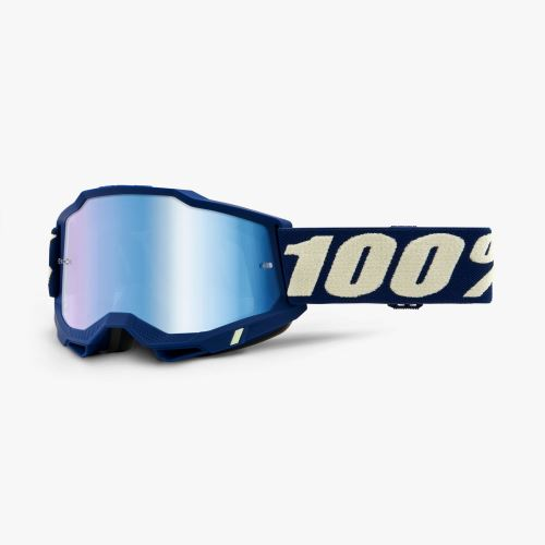 100% brýle motokrosové ACCURI 2 Goggle Deepmarine - Mirror Blue Lens