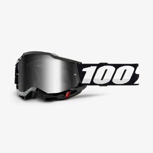 100% brýle motokrosové ACCURI 2 Goggle Black - Mirror Silver Lens