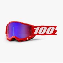 100% brýle motokrosové ACCURI 2 Goggle Red - Mirror Red/Blue Lens
