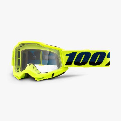 100% brýle motokrosové ACCURI 2 Goggle Yellow - Clear Lens